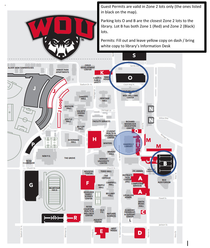 Map of Western Oregon University with closest parking lots to Hamersly Library marked.